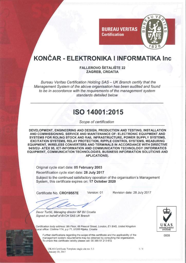 Quality Management System - KONCAR Electronics and Informatics