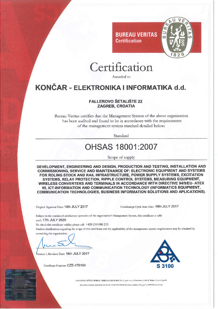 Konar Electronics And Informatics Holder Of The Ohsas Iso 18001